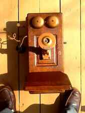 Antique Western Electric Hand Crank Tiger Oak wall Phone
