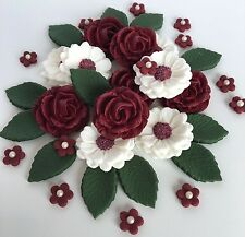 Burgundy/White Roses Wedding Flower Bouquet Cake Decorations Edible Cake Toppers