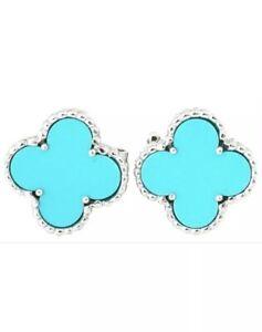 NEW Van Cleef & Arpels VCA VINTAGE Alhambra Turquoise Earrings 18k White Gold