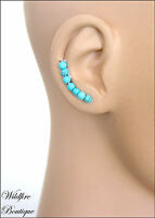 Arc of Coloured Beads Ear Climbers Earrings Ear Cuff  with Stainless Steel Posts
