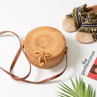 Bamboo Straw Rattan Wicker Woven Handbag Bohemia Knitted Crossbody Purse Bag