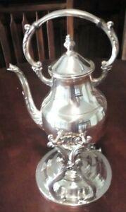 VINTAGE SILVER PLATE COFFEE/TEA WARMER SPIRIT BURNER TIP STAND ..FB ROGERS USA