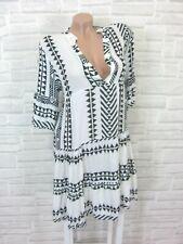 NEU Blogger Hängerchen Kleid Tunika Volant Print 36 38 40 42 Weiß Schwarz K172