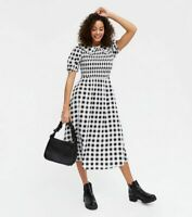New Look Dress Size 8 & 10 Gingham Black White Shirred Collared Midi Dress HO06