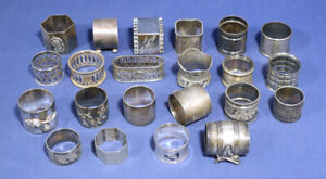 Lot of 22 Vintage Antique Silverplate Napkin Ring Holders Decorative etc.