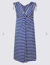 M & S COLLECTION BLUE & WHITE STRIPED KNOT FRONT VEST DRESS