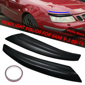 2x Car Headlight Front Eyelids Eyebrows Brow Headlight Cover For SAAB 9-3 00-15