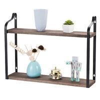 2-Tier Floating Wall Mounted Shelves Rustic Hanging Shelf for Home Wall Decor