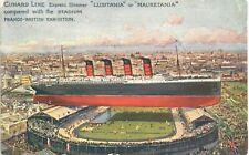 More details for cunard line lusitania & mauretania & franco-british exhibition stadium.