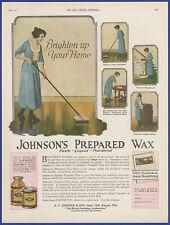 Vintage 1922 JOHNSON'S Prepared Wax Paste Liquid Cleaning Ephemera 20's Print Ad