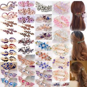 Women Girls Crystal Barrette Rhinestone Flower Hair Clip Clamp Hairpin Headwear