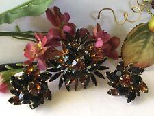Vtg Judy Lee Rhinestone  Brooch Spiky Floral in Browns Blacks 50s 60s -4