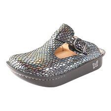 Alegria Women Silver Size 41 us 10 Classic Brilliant Snake Slip on Comfort Clogs