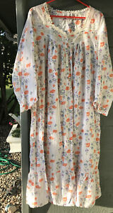 Eileen west nightgown Xlarge 100% Cotton Lawn long White Orange Blue