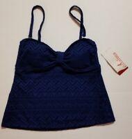 Catalina Woman's NAVY Crochet Textured Swimsuit Top Swim Tankini S 4/6 NWT FAST