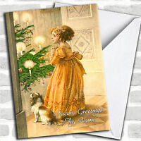 Girl & Dog Vintage Traditional Personalized Christmas Card