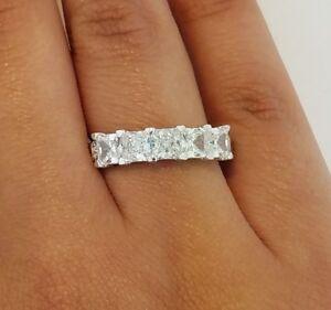 14k White Gold 3 CT 5 Stone Princess Cut Diamond Engagement Wedding Ring Bridal