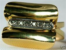Diamond Right Hand Ring Vintage Modernist 18K Gold