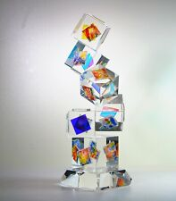 "Optic Crystal Dichroic Glass Sculpture ""CUBENERA"" by Ray Lapsys"