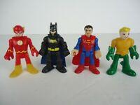 Fisher-Price Imaginext 4 BATMAN SUPERMAN FLASH AQUAMAN Super Friends Playskool