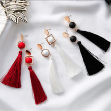 Women Trendy Fashion Jewelry - Signature Tassel Earrings (White, Black)