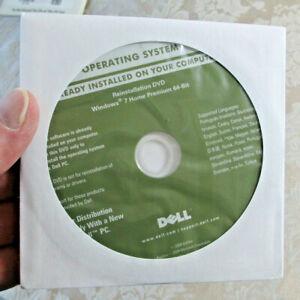 Windows 7 Home Premium 64 bit Reinstallation Dell DVD w/Key NEW/SEALED
