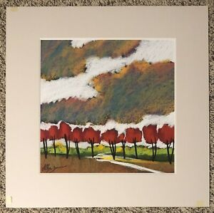 "26""x26"" double matted ORIGINAL ART pastel red trees/clouds by HELEN ZARIN signed"