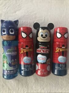 Lot of 4 BUBBLES Spiderman Mickey Mouse & PJ Masks MIRACLE Bubbles 8oz. Ages 3+