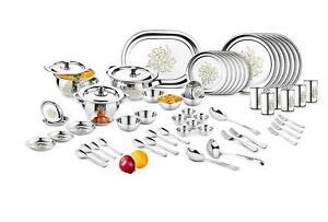 68 PCs Stainless Steel Dinner Set Floral Design Bowl Plates Spoon Glass Fork