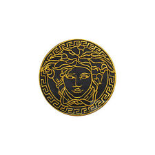 BEAUTIFULL GOLDEN MEDUSA HEAD LOGO IRON ON/SEW ON EMBROIDERED PATCH