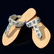 dff3a214a29e3 PASHA Bouvet Clear   Silver Crystal Jeweled Leather Sandals