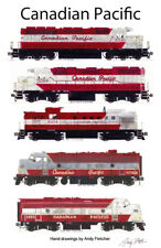 "Canadian Pacific Maroon Locomotives 11""x17"" Poster by Andy Fletcher signed"