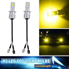 2x H3 55W High Power LED 3000K Yellow Fog Driving DRL Light Bulbs Conversion Kit