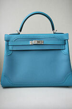 HERMES 32CM TURQUOISE GHILLIES TOGO WITH PALLADIUM HARDWARE KELLY BAG