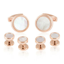 Rose Gold Mother of Pearl Cufflinks and Studs Direct from Cuff-Daddy