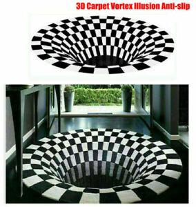 3D Teppich Boden Teppiche Wohnzimmer Runde Matte Optisch Effekt Bodenloses Loch!