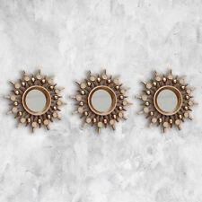 3pc Bronze Sunburst Wall Mirrors Round Art Deco Wall Art Home Mirror Decor Style