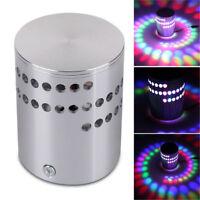 3W RGB Spiral LED Wall Light Sconces Lamp Decor Fixture Porch Bedroom Disco Bar