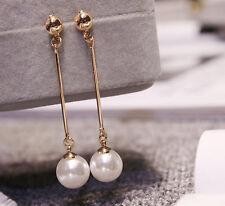 Korean Women Gold Plated Pearl Long Drop/dangle Earrings Studs Jewelry