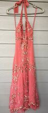 TEMPERLEY London Ivory Silk Orange Gold Sequin Halter Dress Size 4/6 Gorgeous!