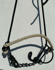 """5"""" combination draw gag bit w/ SI chain mouth , rope noseband, headstall"""