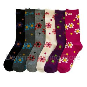 6 Pairs Women Crew Socks Flower Blossom Flora Colorful Stretchy Casual Girl Lot