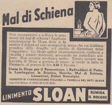 V0237 Mal di schiena - LINIMENTO SLOAN - Pubblicità d'epoca - 1938 advertising