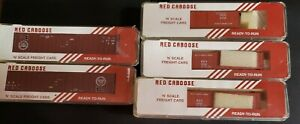 N-SCALE LOT OF 5 FRIEGHT BOX CARS BY RED CABOOSE BRAND NEW IOB UNUSED UNOPENED