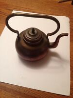Collectible Old Vintage Antique Copper and Brass Metal Tea Coffee Pot Kettle