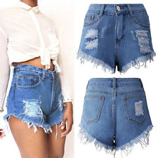 Women Vintage Ripped Womens High Waisted Denim Tassel Hole Shorts Jeans Hot Pant