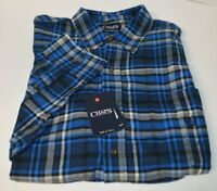 Chaps Ralph Lauren Flannel Newport Navy Plaid Men's Shirt Big & Tall Long Sleeve