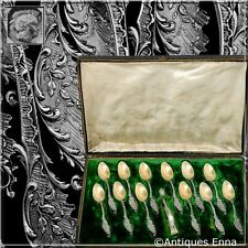 Tortez French Sterling Silver 18k Gold Tea Spoons Set, Sugar tong, Original Box