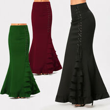 Retro Gothic Women Ruffles Maxi Mermaid Skirt High Waist Flared Long Skirt Dress