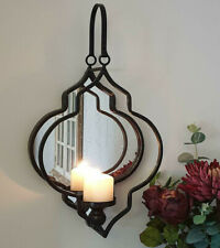 Wall Candle Holder And Mirror Vintage Black Metal Frame Mounted Pillar Sconce